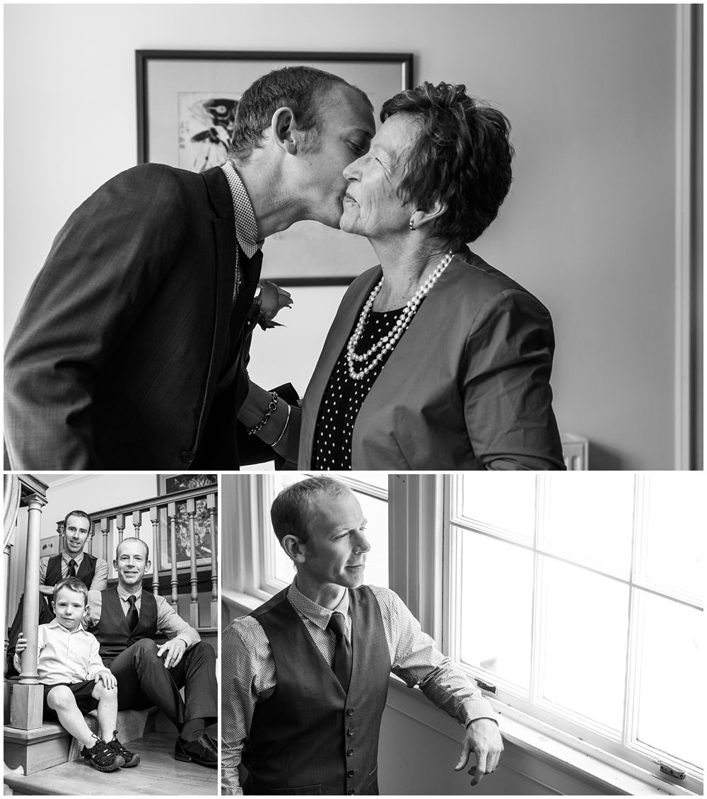 groom kissing mother on the cheek