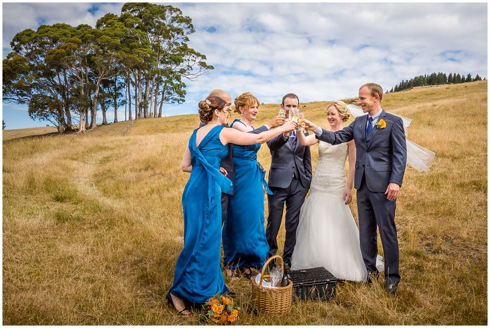 Tipapa Woolshep Wedding-Bridal party toast at the top of the hill top