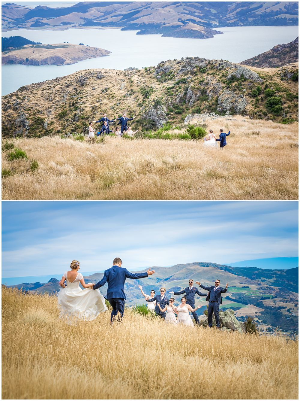 photos taken of the bridal party on top of the Portholes with the view of lyttleton harbour