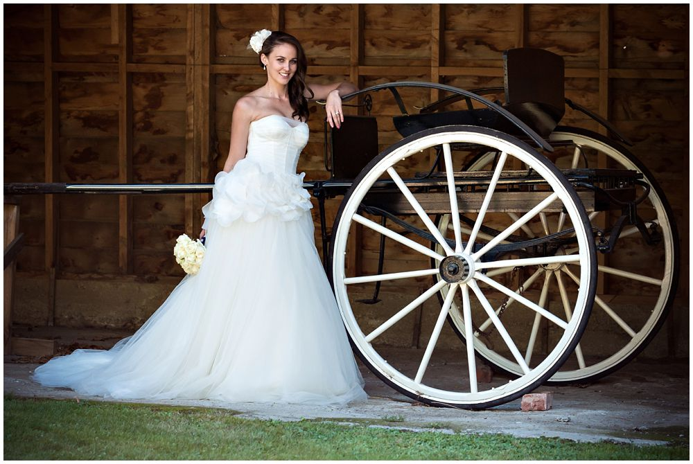 Tipapa Woolshed Barn Wedding bride standing next to horse cart