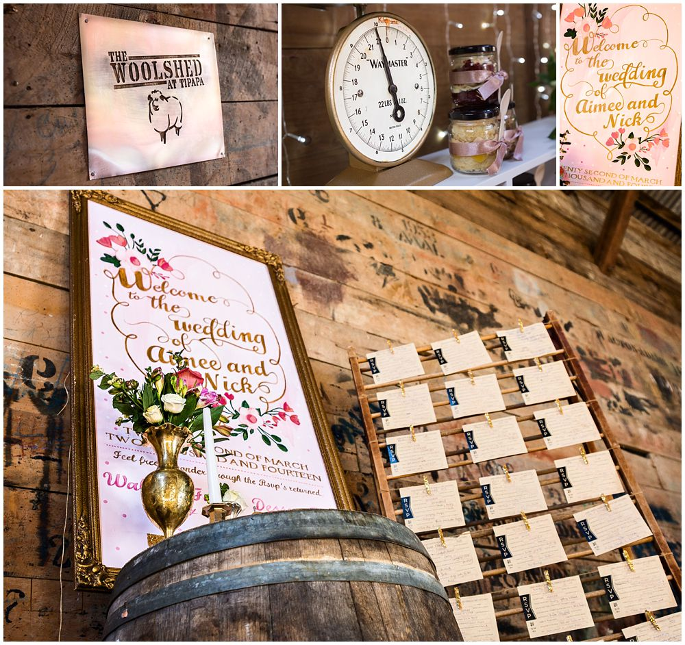 Tipapa Woolshed Barn Wedding detail setup of name placings