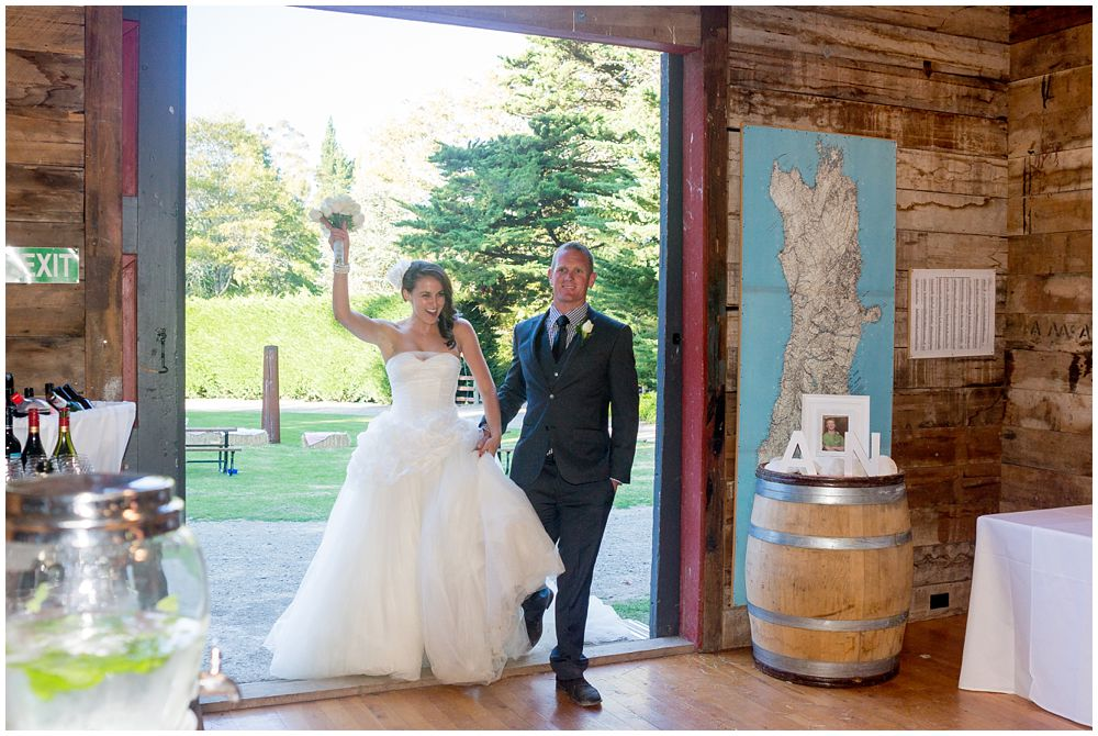 Bride-groom make reception entrance at Tipapa Woolshed Barn Wedding Venue