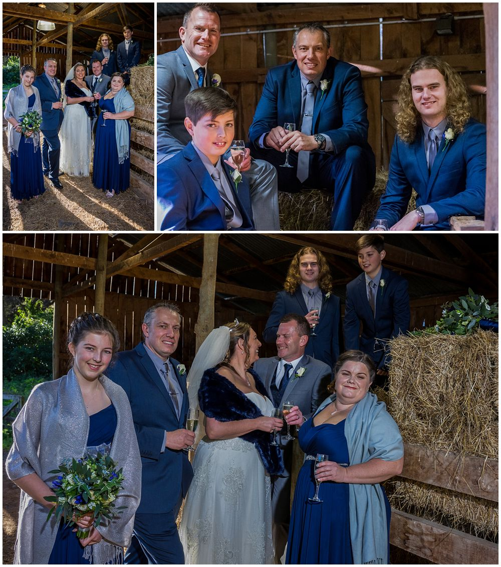 wedding party in barn