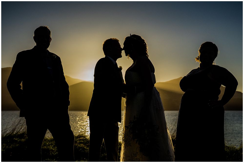 silhouette of bridal party