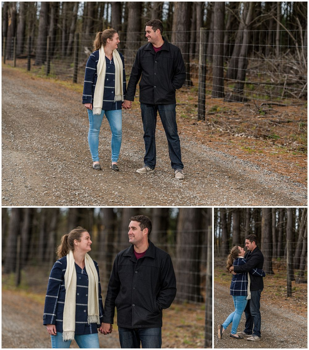 engaged couple on a forest track at Bottle Lake Forest