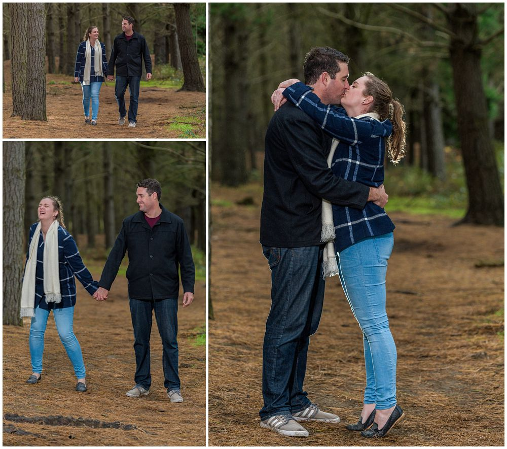 Couple having Bottle Lake Forest Engagement Photography