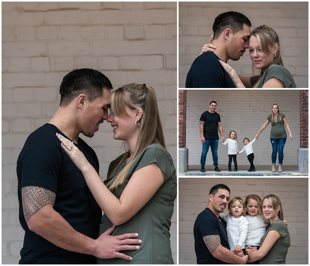 collage of couple and children during engagement shoot