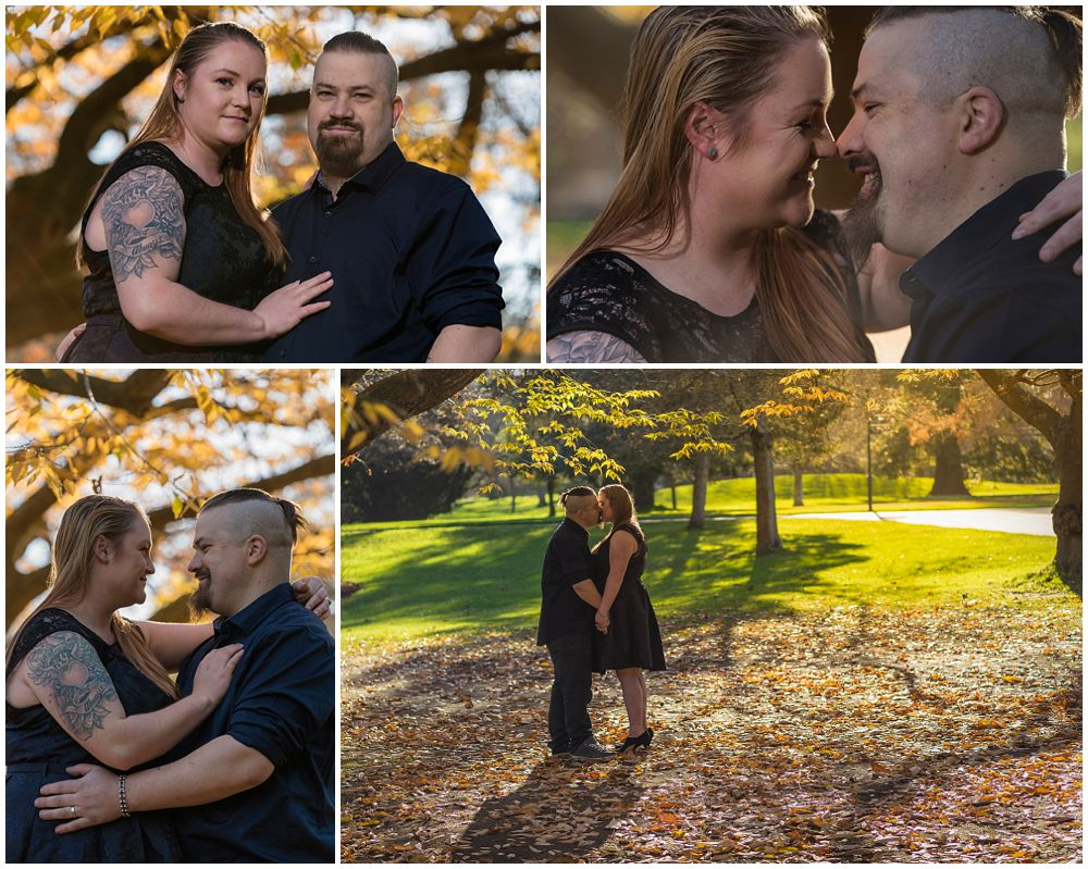 Christchurch Botanic Gardens Autumn Engagement Photography engaged couple standing in autumn sun in garden