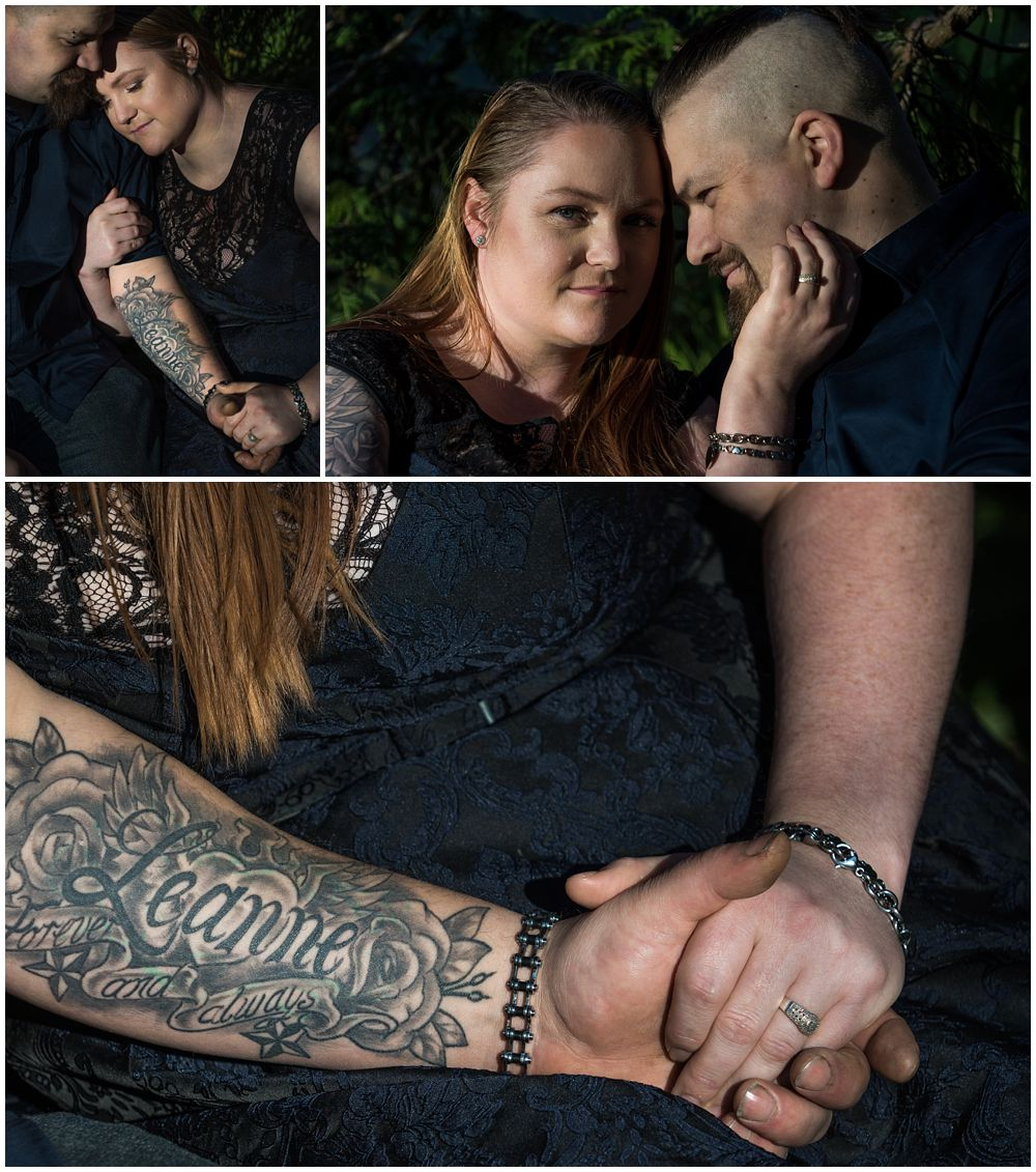 engaged couple showing off tattoos