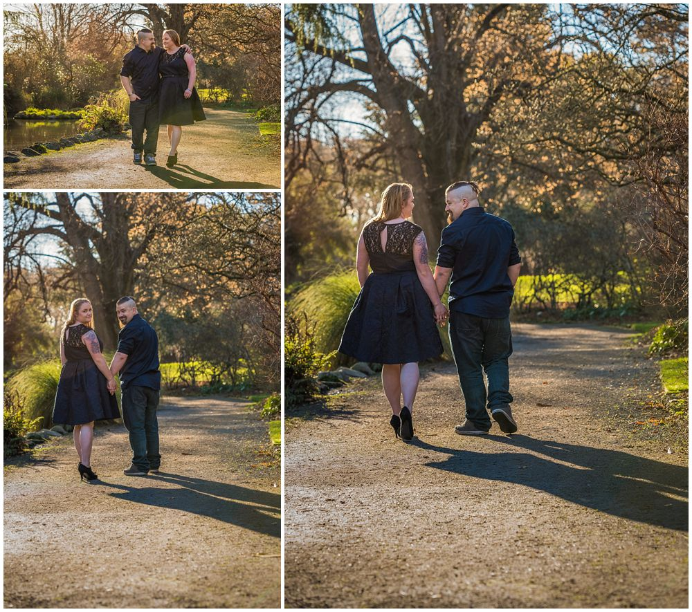 Engaged couple walking on patin Botanic Gardens