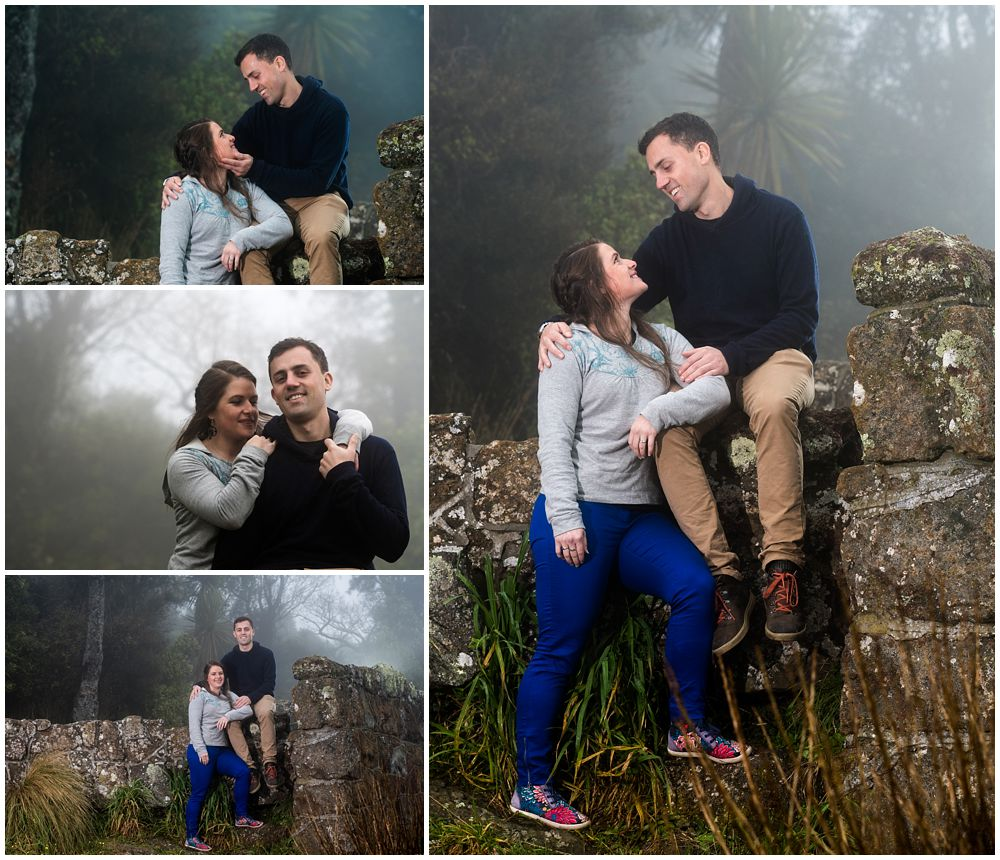 engaged couple on a misty day