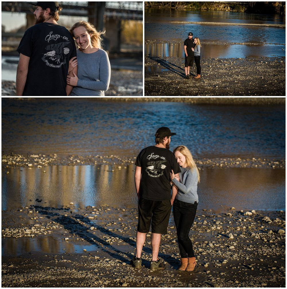 couple standing on river bed