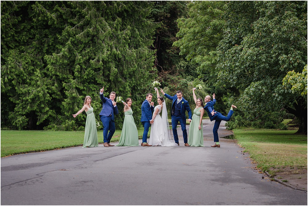 Christchurch Wedding Photographer fun photo of the bridal party making silly poses