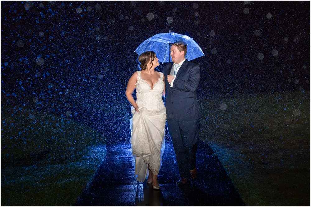 Christchurch Wedding Photographer photo of bride and groom in the rain walking side by side under the cover of an umbrella