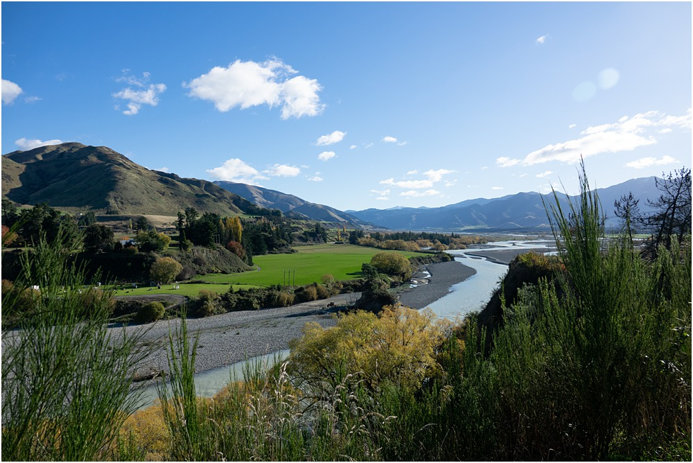Hanmer Springs view on to the Waiau River