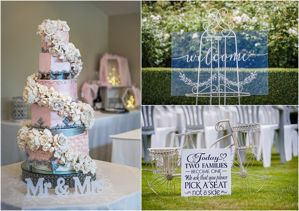 wedding cake and welcome sign