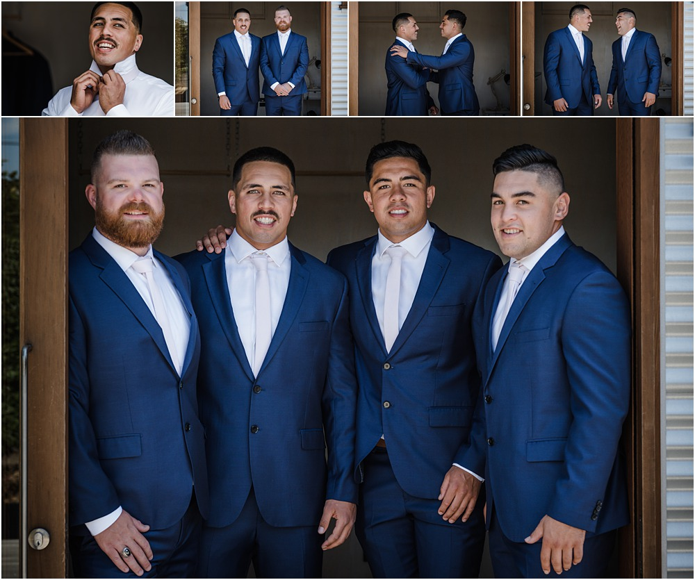 groom and groomsmen dressed up ready for the ceremony at lacebark wedding venue