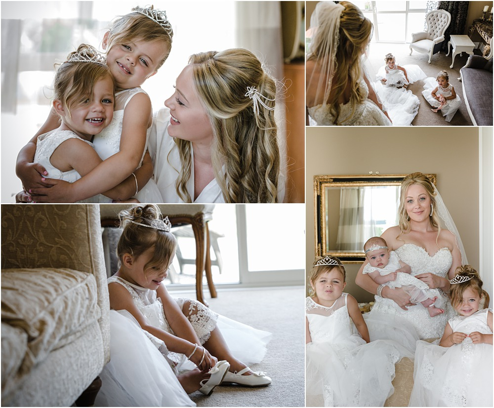 lacebark wedding photos of the bride with her three children