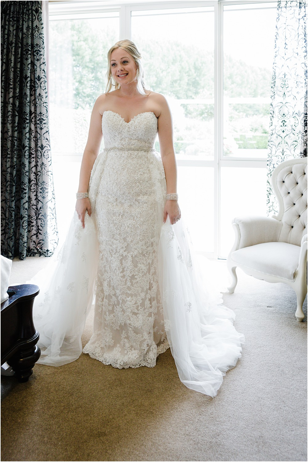 bride in her wedding dress in the bridal suite at lacebark