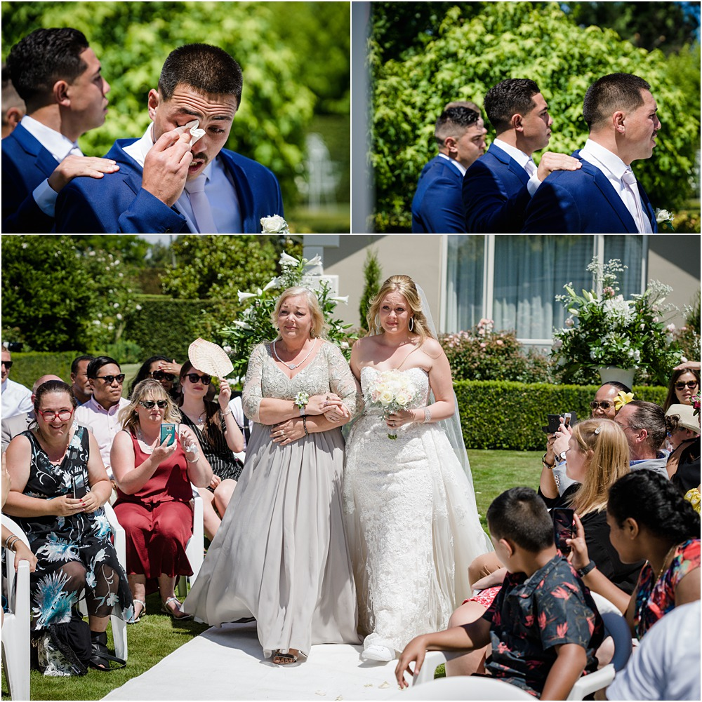 lacebark wedding photos of groom sheds tears as trhe bride walks down the isle