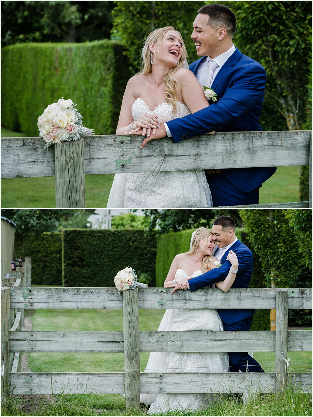 photos of bridal and groom having a laugh in front of a wooden fence at a lacebark wedding