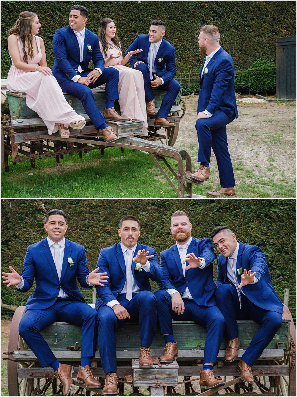 bridal party sitting on a rustic rustic ploughing machine during wedding photos at lacebark