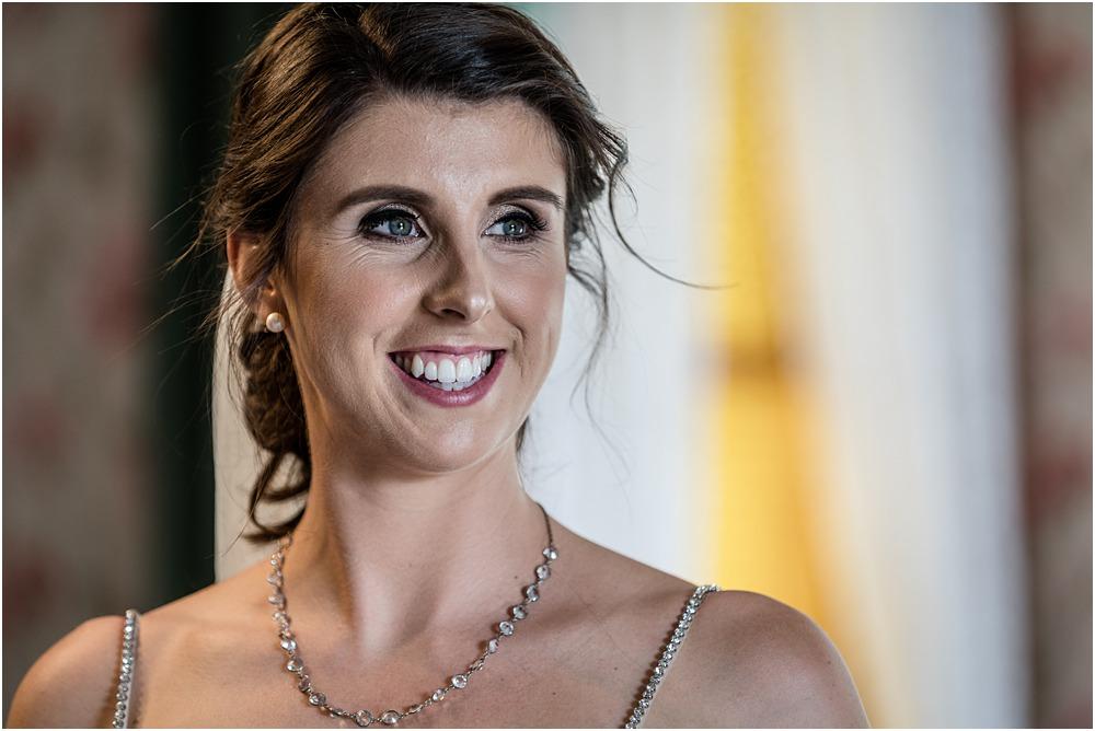 face portrait of bride at riccarton house wedding venue
