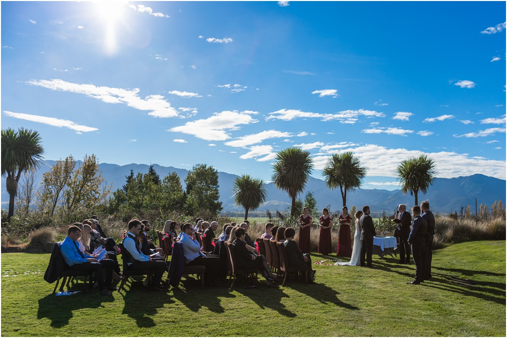 Braemar Lodge wedding ceremony overlooking the valley in autumn