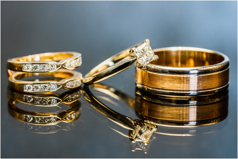 bride-groom's wedding rings on table at Braemar Lodge