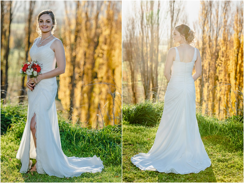 Braemar Lodge wedding photos of bide backlit in autumn