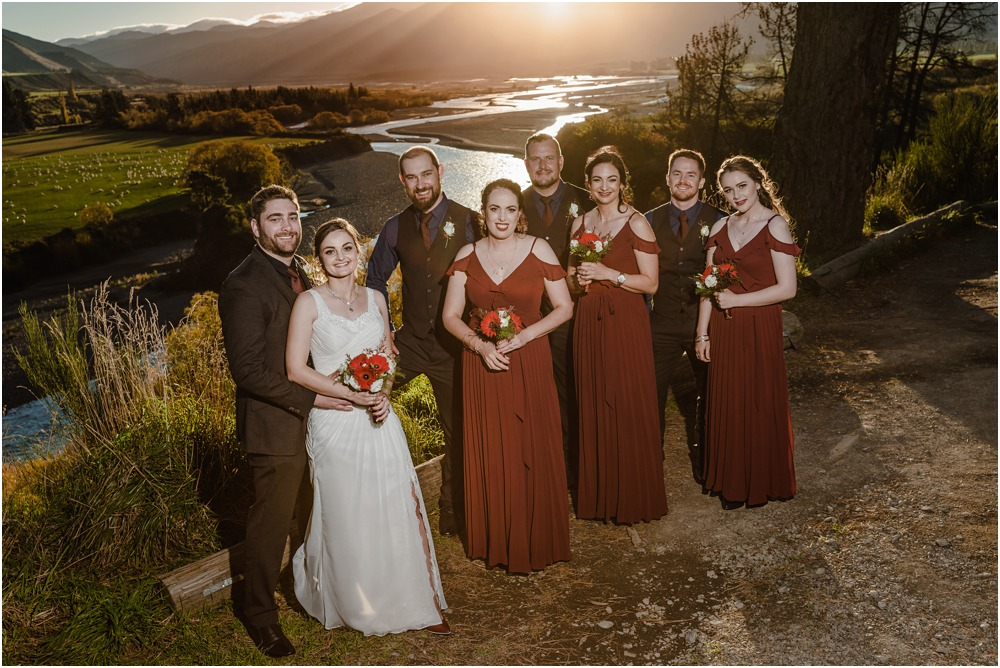 Bride-groom and prasad party pose for a photo during sunset at Braemar Lodge Hanmer Springs