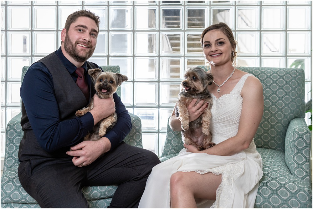 Braemar Lodge Wedding Photo of bride and groom with their pet dogs