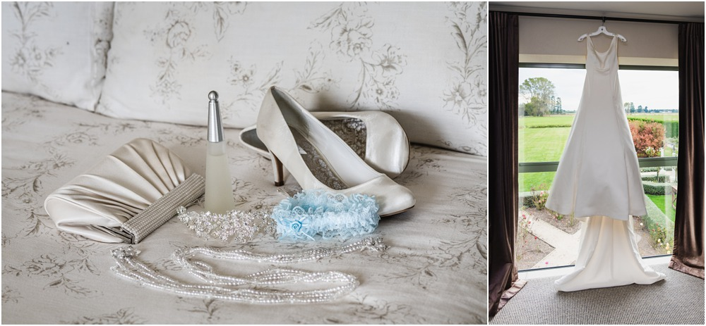 bride's dress-shoes-gatter-perfume detail